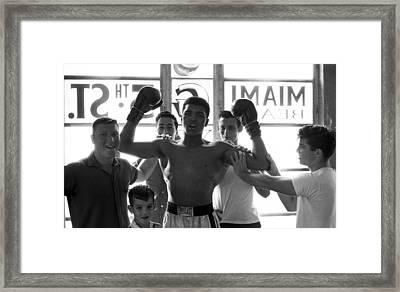 Muhammad Ali Raising Arms Framed Print