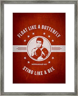 Muhammad Ali - Red Framed Print by Aged Pixel