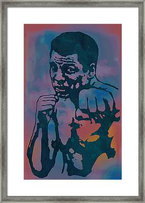 Muhammad Ali  - Stylised Etching Pop Art Poster Framed Print by Kim Wang