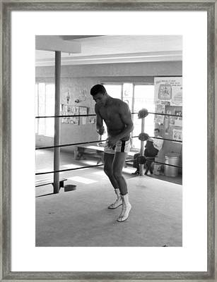 Muhammad Ali Warming Up In Ring Framed Print