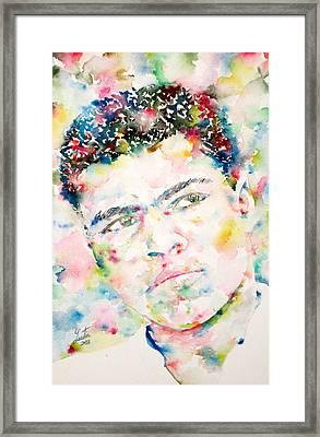 Muhammad Ali - Watercolor Portrait.1 Framed Print