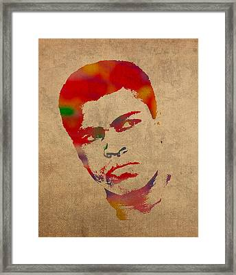 Muhammad Ali Watercolor Portrait On Worn Distressed Canvas Framed Print by Design Turnpike