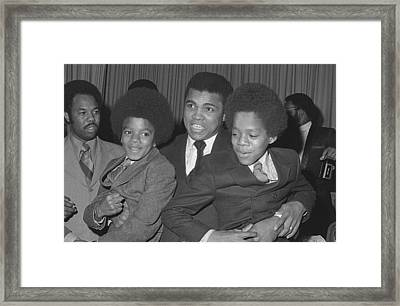 Muhammad Ali With Young Michael Jackson Framed Print by Brian Douglas