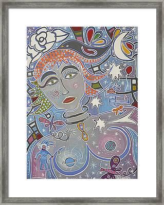 Mujer Astral Framed Print by Claudia Suarez alvez