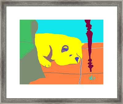 Muji Behind The Couch Framed Print by Anita Dale Livaditis