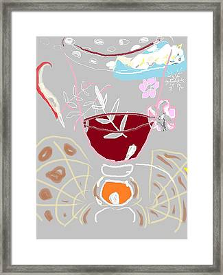 Muji With Wine Glass Framed Print