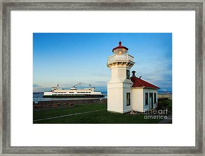 Mukilteo Ferry And Lighthouse Framed Print by Inge Johnsson