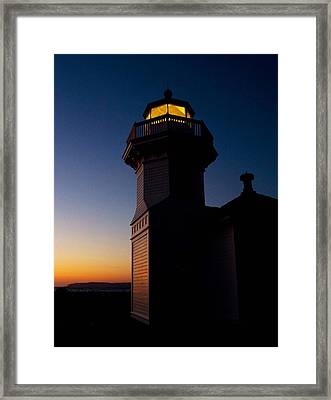 Framed Print featuring the photograph Mukilteo Light House Sunset by Sonya Lang