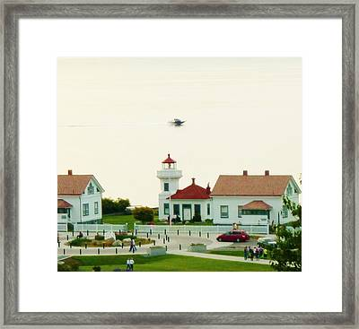 Mukilteo Lighthouse And The Lone Speedboat Framed Print