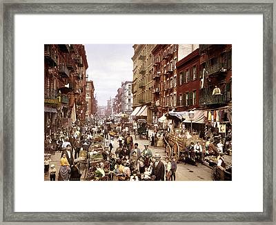 Mulberry Street, New York, Circa 1900 Framed Print