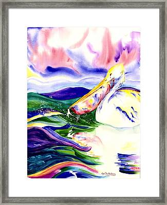 Mullet In The Gullet Framed Print by Gail Bartholomay