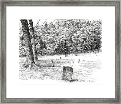 Framed Print featuring the drawing Mullin's Cemetery by Bob  George