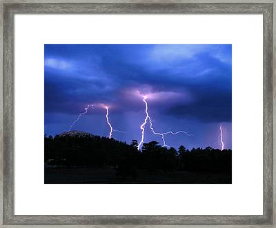 Multi Arc Lightning Strike Framed Print