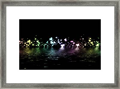 Multi Colored Hearts On Nights Water Framed Print by Kurt Van Wagner