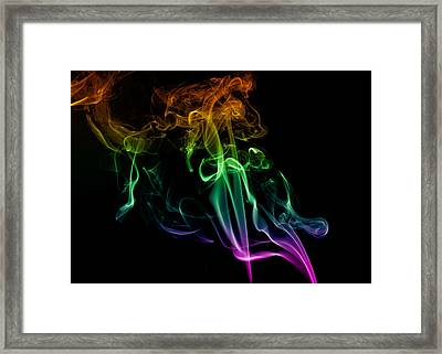 Multi Colored Smoke Abstract On Balck Framed Print