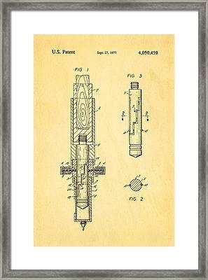 Multi Drug Veterinary Hypodermic Syringe Patent Art 1977 Framed Print by Ian Monk