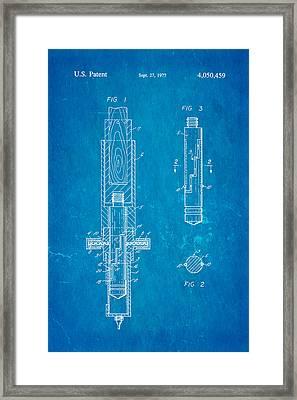 Multi Drug Vetinary Hypodermic Syringe Patent Art 1977 Blueprint Framed Print by Ian Monk