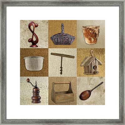 Multi Home Decor - Beige 01cr Framed Print by Variance Collections