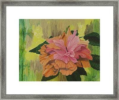 Framed Print featuring the painting Multi-petaled Pink Peach Hibiscus by Hilda and Jose Garrancho