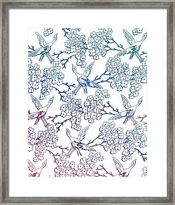 Multicolor Birds And Flowers Framed Print by Dan Sproul
