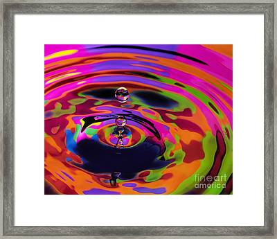 Multicolor Water Droplets 2 Framed Print by Imani  Morales