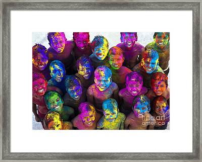 Multicoloured Happy Faces Framed Print