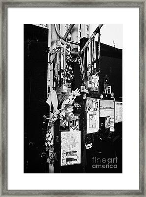 Multinational Tributes Flowers And Memorials Left By Mourners Wellwishers Ground Zero New York City Framed Print by Joe Fox