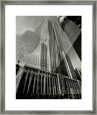 Multiple Exposure Of The Empire State Building Framed Print