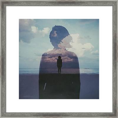 Multiple Exposure Of Woman On Beach Framed Print by Chen Liu / Eyeem