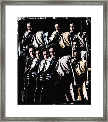 Framed Print featuring the photograph Multiple Johnny Cash In Trench Coat 1 by David Lee Guss
