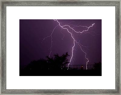 Multiple Lightning Strikes In Casa Grande Arizona Framed Print by Chris Spangler