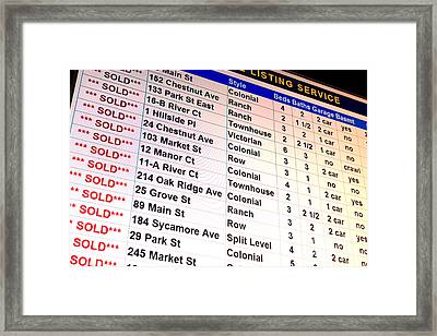 Multiple Listing Service Framed Print