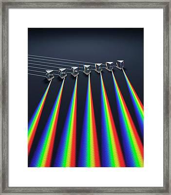 Multiple Prisms With Spectra Framed Print by David Parker