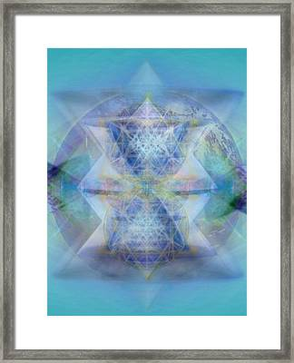 Multivortex 3d Chalice With Horizontal Vortexes Over The Earth Framed Print by Christopher Pringer