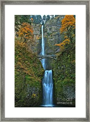Multnomah Double Plunge Framed Print by Adam Jewell