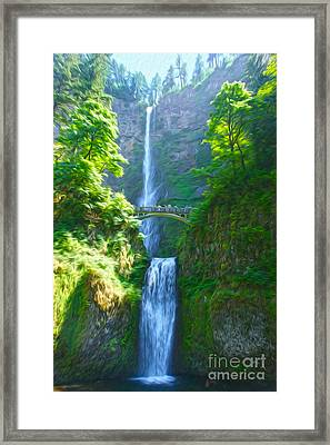 Multnomah Falls Framed Print by Nur Roy