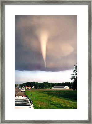 Framed Print featuring the photograph Mulvane Tornado With Storm Chasers by Jason Politte