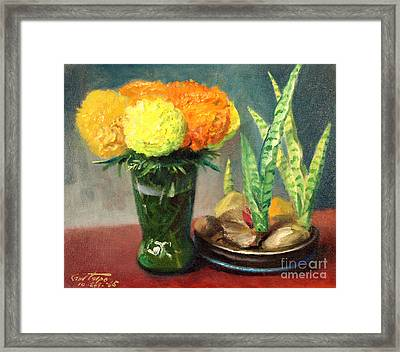 Mums And Mother-inlaw Tongues Framed Print