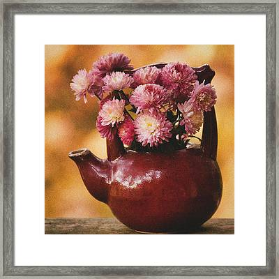 Framed Print featuring the photograph Mums In A Teapot Still Life by Peggy Collins