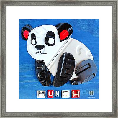 Munch The Panda License Plate Art Framed Print