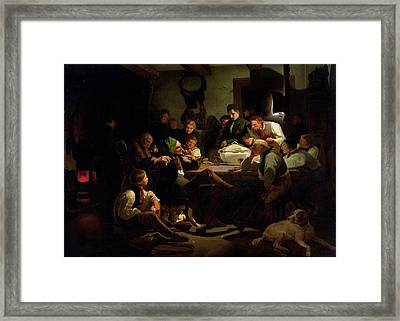 Munchhausen Tells His Hunting Tales, 1842 Oil On Panel Framed Print by Adolf Schrodter