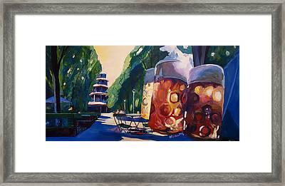 Munich Chinese Tower Beergarden In English Garden Framed Print by M Bleichner