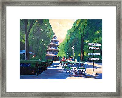 Munich Chinese Tower Signpost In English Garden Framed Print