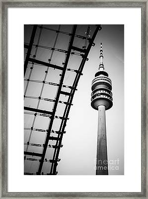 Munich - Olympiaturm And The Roof - Bw Framed Print by Hannes Cmarits