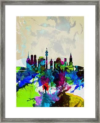 Munich Watercolor Skyline Framed Print by Naxart Studio
