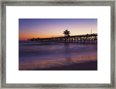 Municipal Pier At Sunset San Clemente Framed Print by Richard Cummins