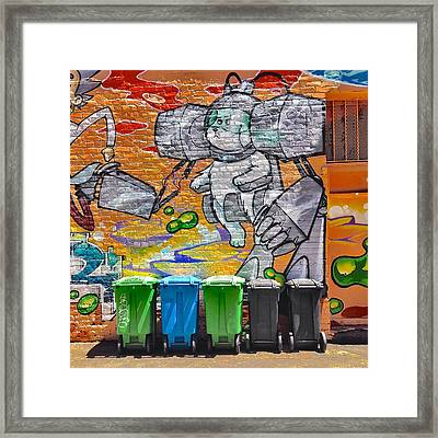 Mural And Bins Framed Print by Julie Gebhardt