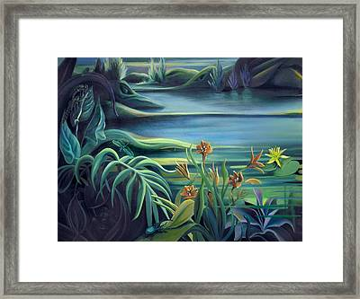 Mural Bird Of Summers To Come Framed Print by Nancy Griswold