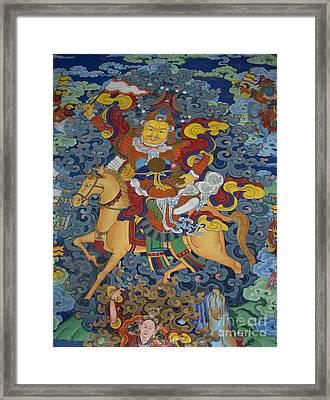 Mural Of Ling Kesar - Litang Chode Monastery Framed Print