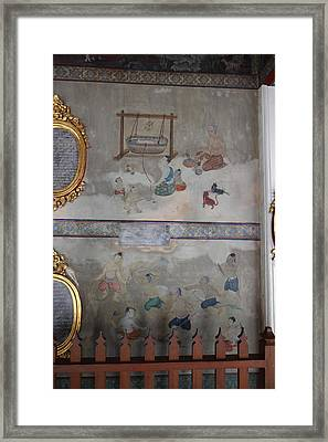 Mural - Wat Pho - Bangkok Thailand - 01131 Framed Print by DC Photographer